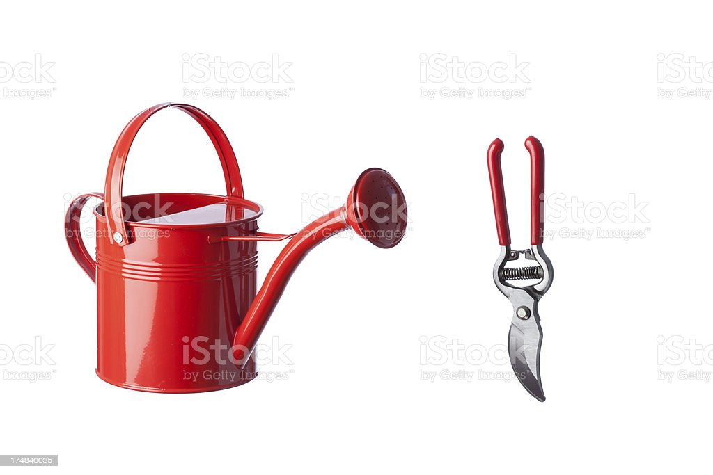 Gardening equipment on white background royalty-free stock photo