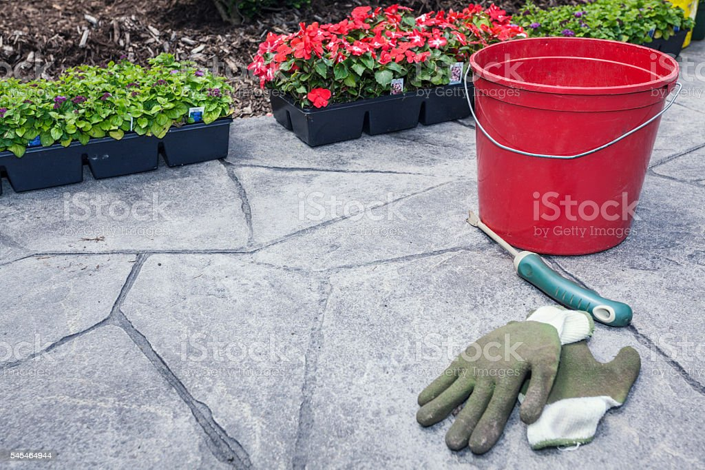 Gardening Equipment Tools - Gloves, Picking Trowel, Bucket stock photo