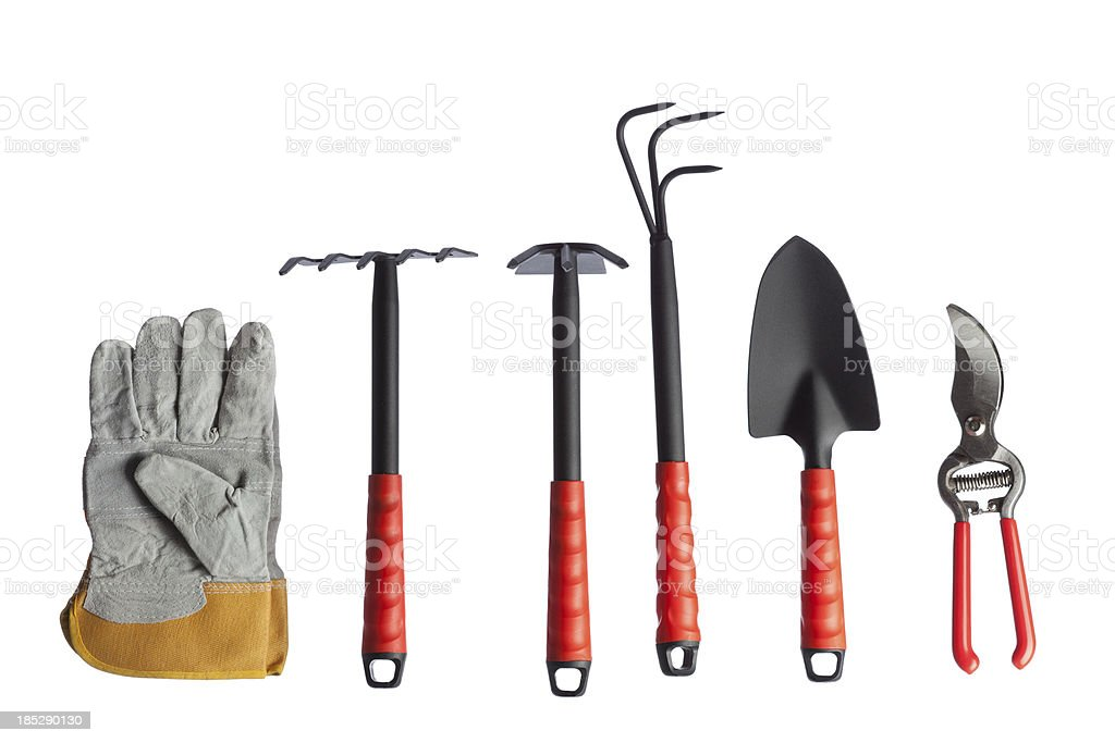 Gardening equipments on white background stock photo