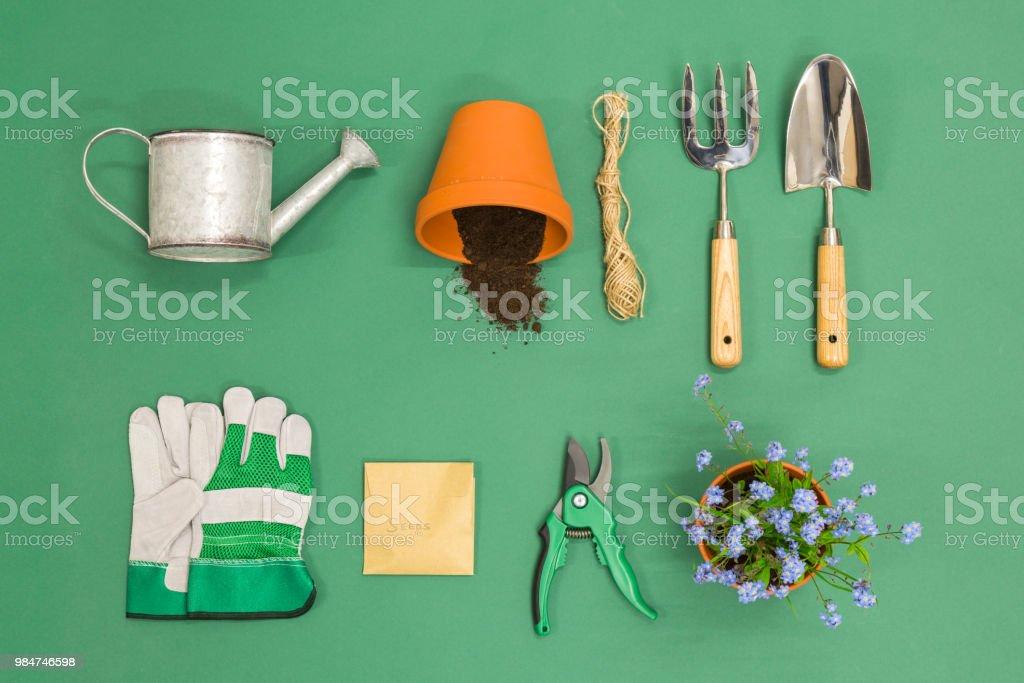 Gardening flat lay stock photo