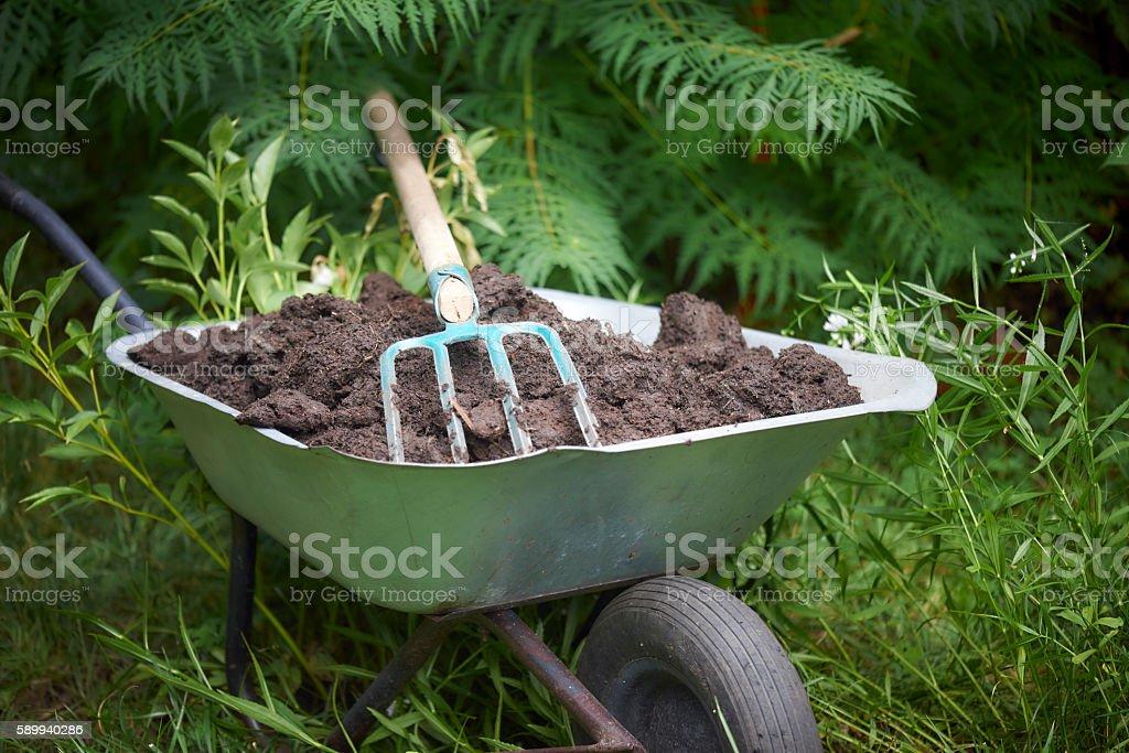 Gardening Fork And Wheelbarrow Royalty Free Stock Photo