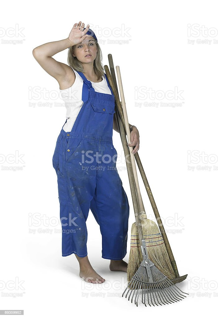 gardening girl dressed in workwear royalty-free stock photo