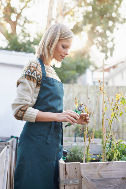 Gardening is more than a hobby. 스톡 사진