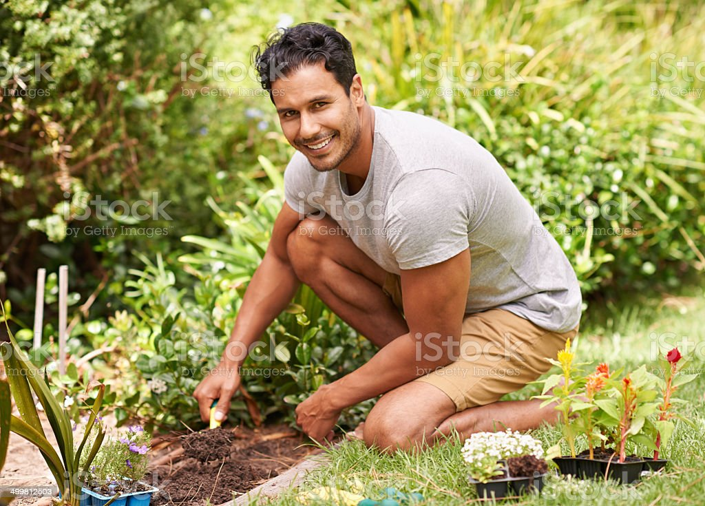 Gardening is so relaxing and rewarding stock photo