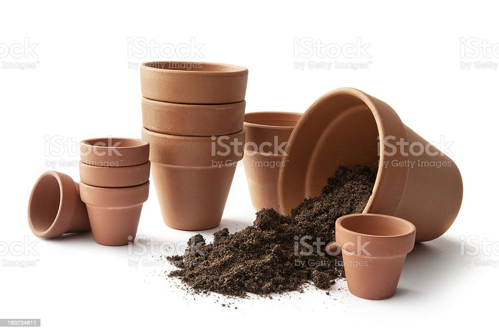 Gardening: Plant Pots and Soil royalty-free stock photo