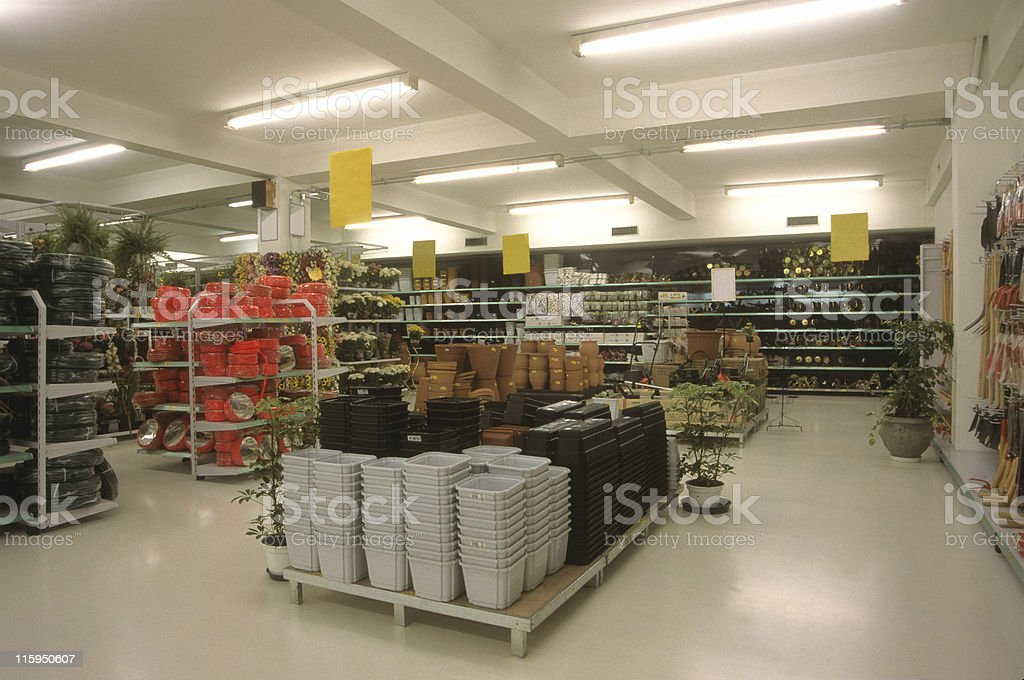 Gardening section in a supermarket stock photo