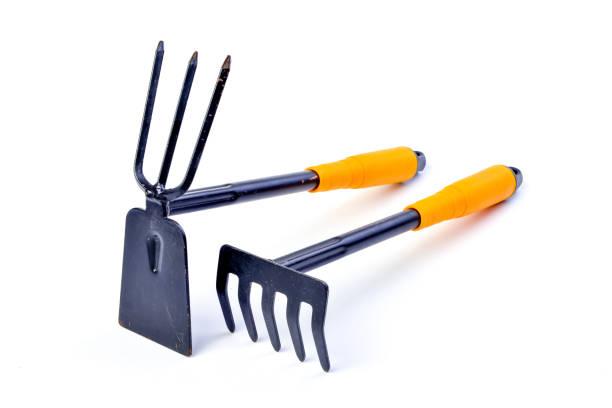 Gardening shovel and fork isolated . Gardening shovel and fork isolated . garden hoe stock pictures, royalty-free photos & images
