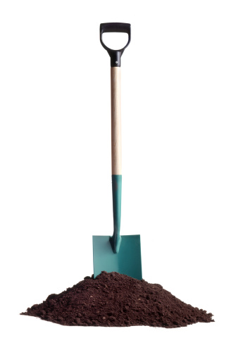 Gardening Soil And Spade Stock Photo - Download Image Now