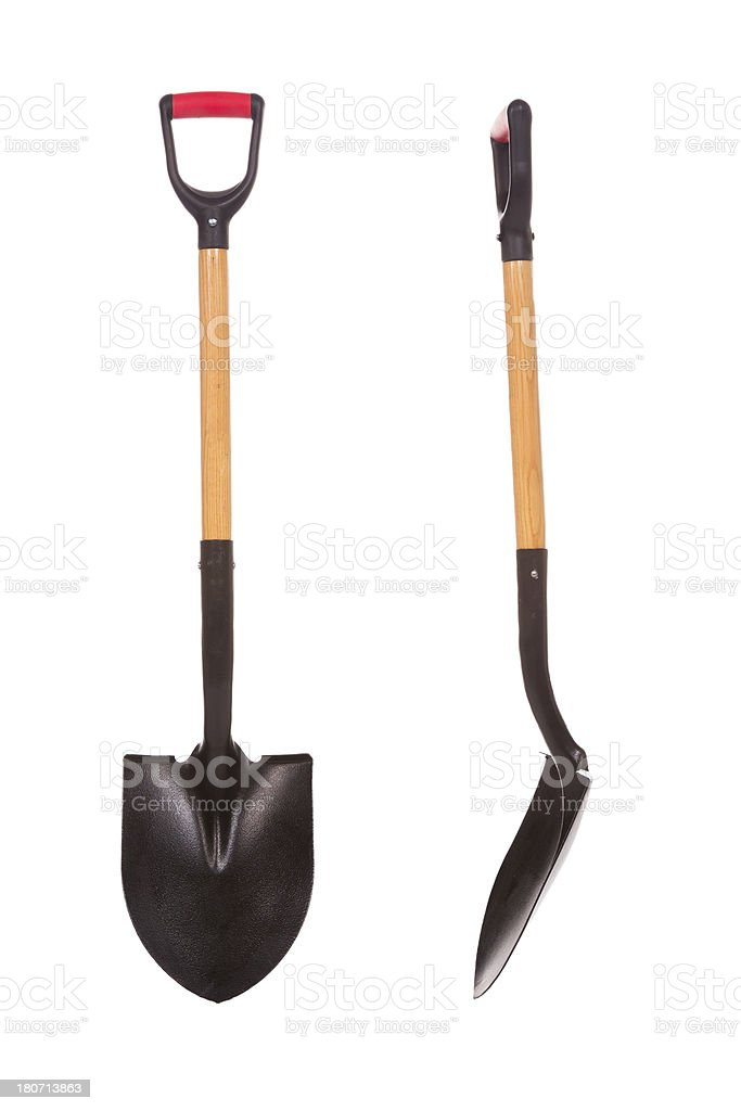 Gardening Spade Front and Profile Isolated stock photo