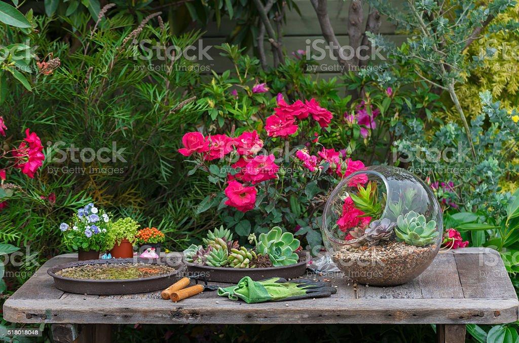 Gardening tool in garden stock photo