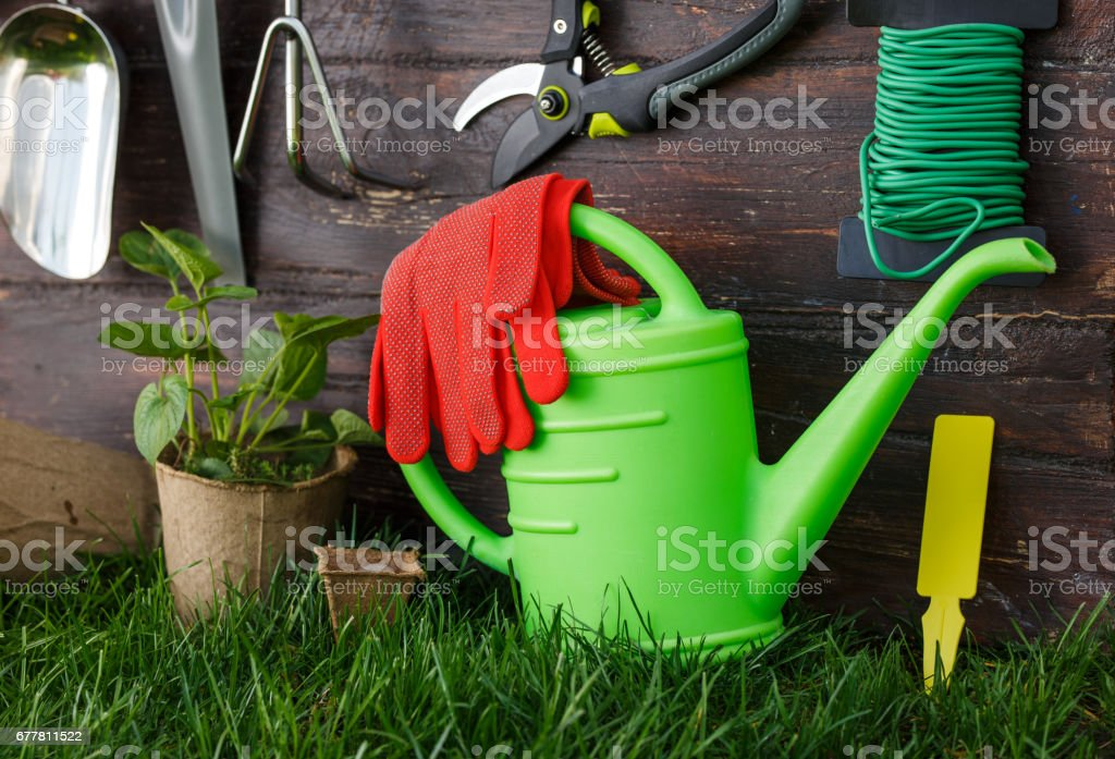 Gardening tools and equipment closeup in the backyard. royalty-free stock photo