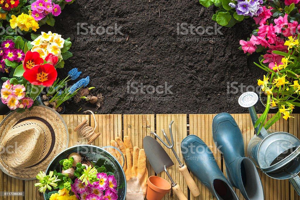 Gärtnern Werkzeuge und Blumen auf der Terrasse – Foto