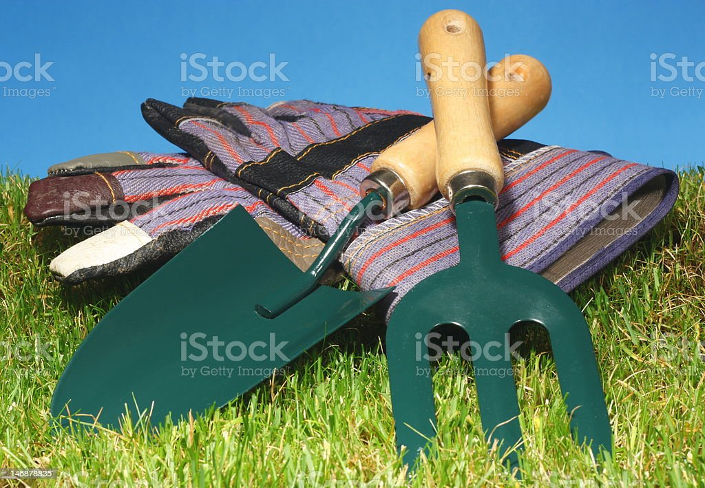 Gardening tools and gloves on grass. royalty-free stock photo