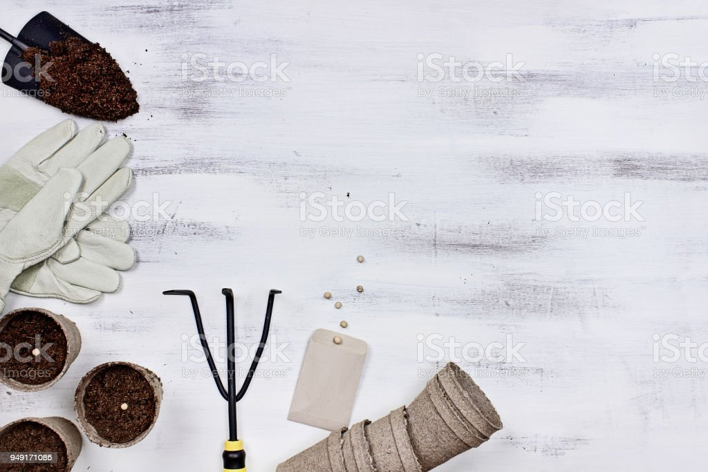 Gardening Tools and Seedling Peat Pots stock photo
