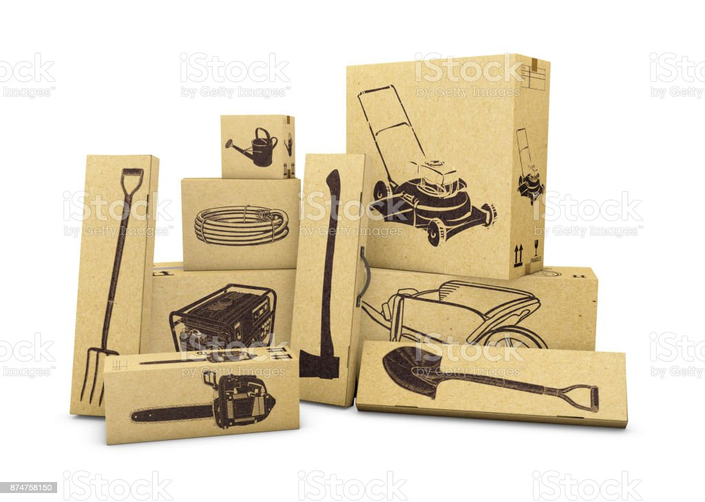 Gardening tools in carboard boxes isolated on white. E-commerce, internet online shopping and delivery concept. 3d illustration stock photo