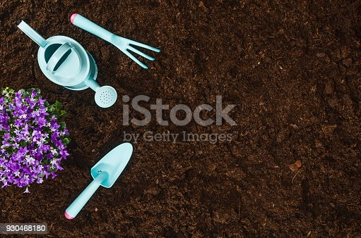 927125180 istock photo Gardening tools on garden soil texture background top view 930468180
