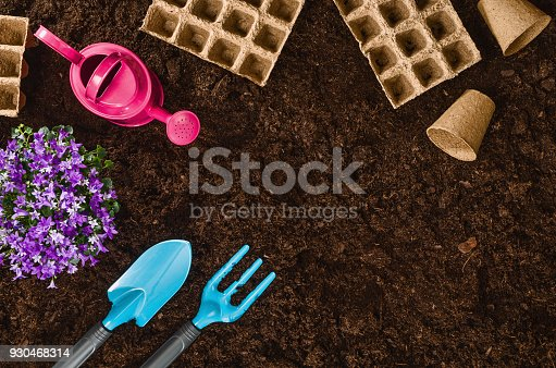927125180 istock photo Gardening tools on garden soil texture background top view 930468314