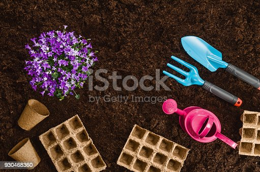 927125180 istock photo Gardening tools on garden soil texture background top view 930468360