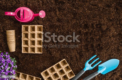 927125180 istock photo Gardening tools on garden soil texture background top view 930470768