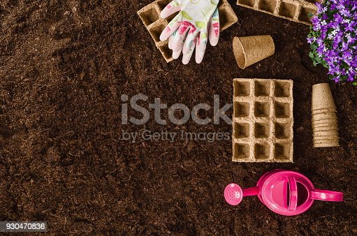 927125180 istock photo Gardening tools on garden soil texture background top view 930470836