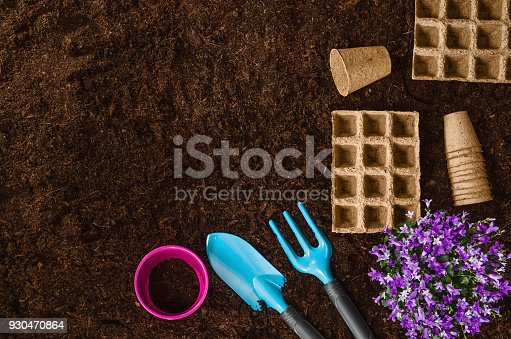 927125180 istock photo Gardening tools on garden soil texture background top view 930470864