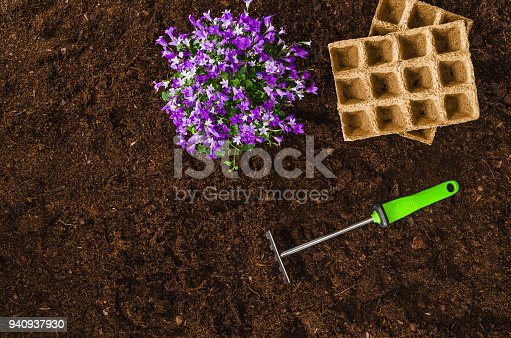 927125180 istock photo Gardening tools on garden soil texture background top view 940937930