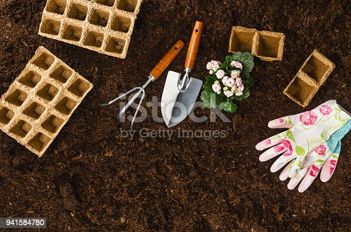 927125180 istock photo Gardening tools on garden soil texture background top view 941584780