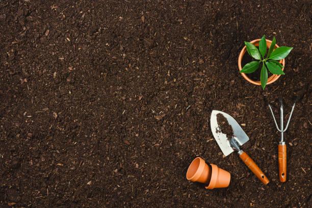 Gartenwerkzeuge auf Boden Textur Hintergrund Ansicht. – Foto
