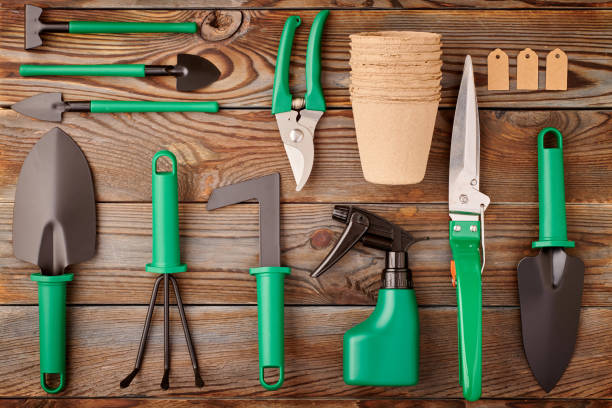 Gardening tools on wooden background flat lay Gardening tools on wooden background flat lay top view knolling concept stock pictures, royalty-free photos & images