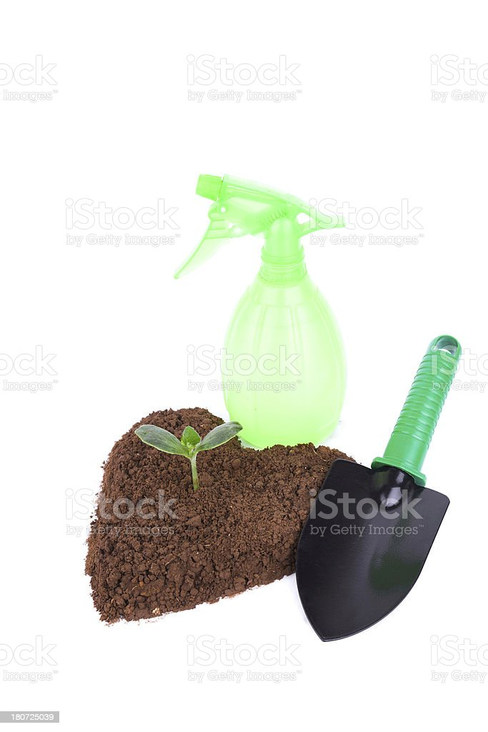 Gardening Trowel and Plant in heart shape dirt royalty-free stock photo