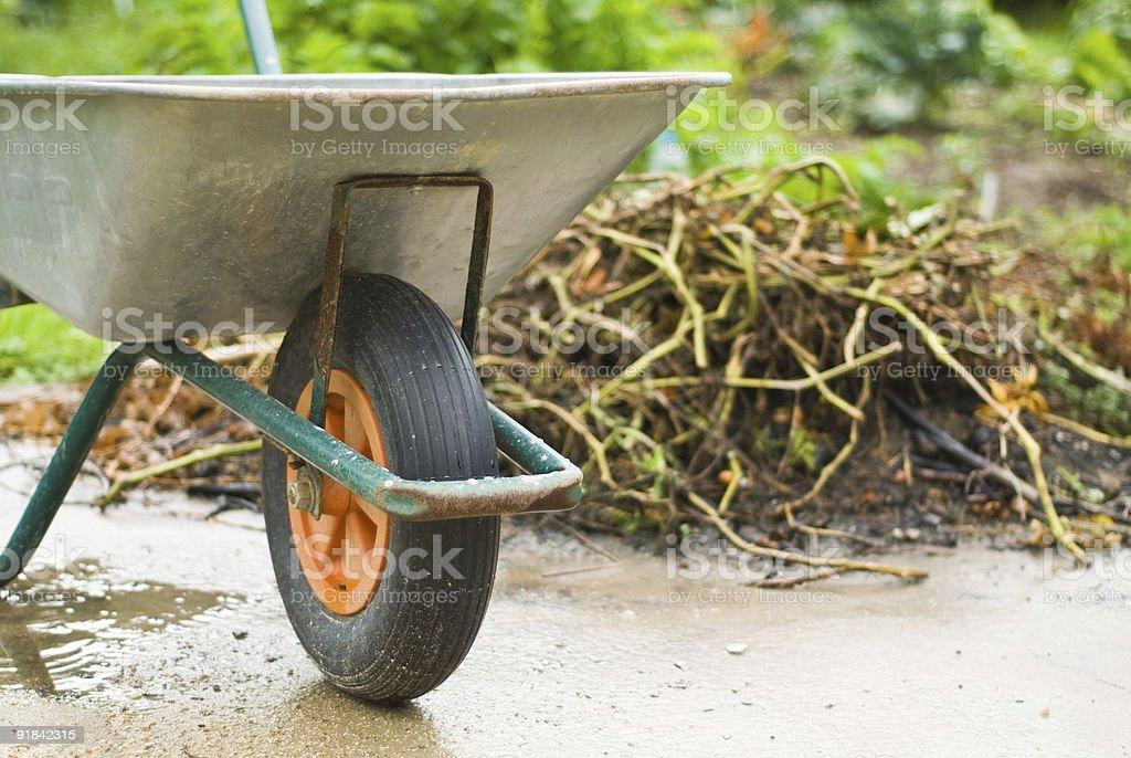 Gardening wheelbarrow stock photo