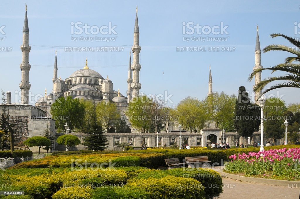 Gardens and Blue Mosque in Istanbul - foto de stock
