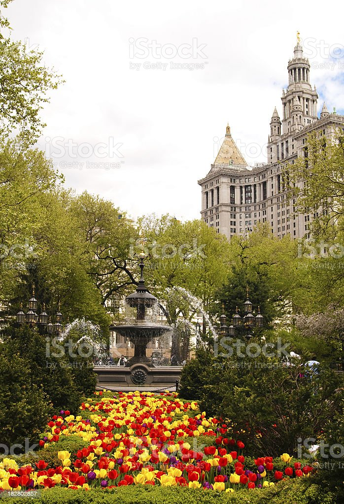 Gardens and fountain at City Hall Park in Manhattan stock photo