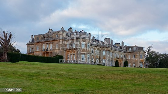 Luton Hoo Hotel, Golf and Spa, Luton, Bedfordshire, UK - December 23, 2019: traditional historic mansion converted into a luxurious hotel, with elegant restaurants, a modern spa and lush gardens.