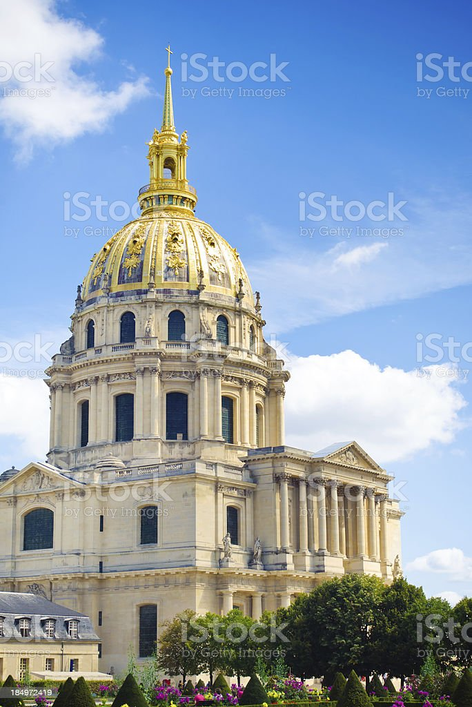 Gardens at Les Invalides in Paris, France with Mansart's dome stock photo
