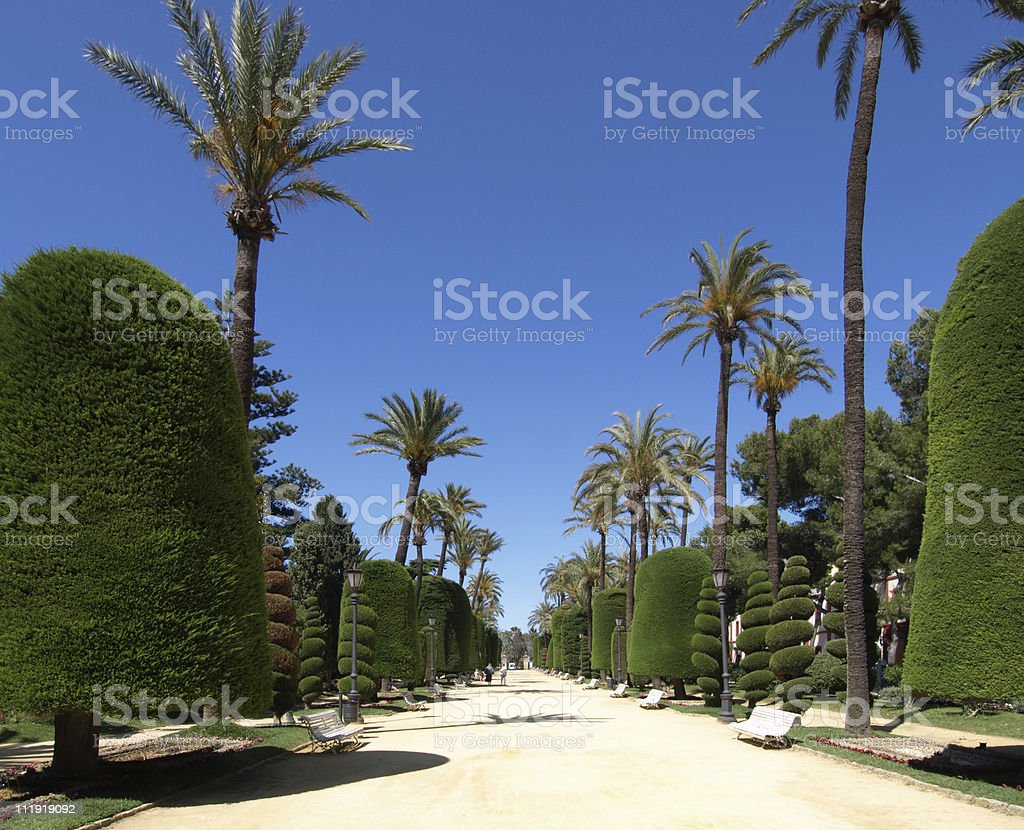 Gardens at the seafront in Cadiz, Spain stock photo