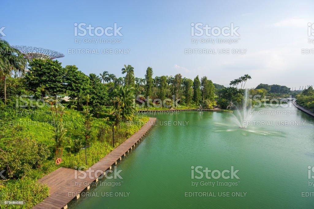 Bay park Marina Bay, Singapur adlı bahçelerle royalty-free stock photo