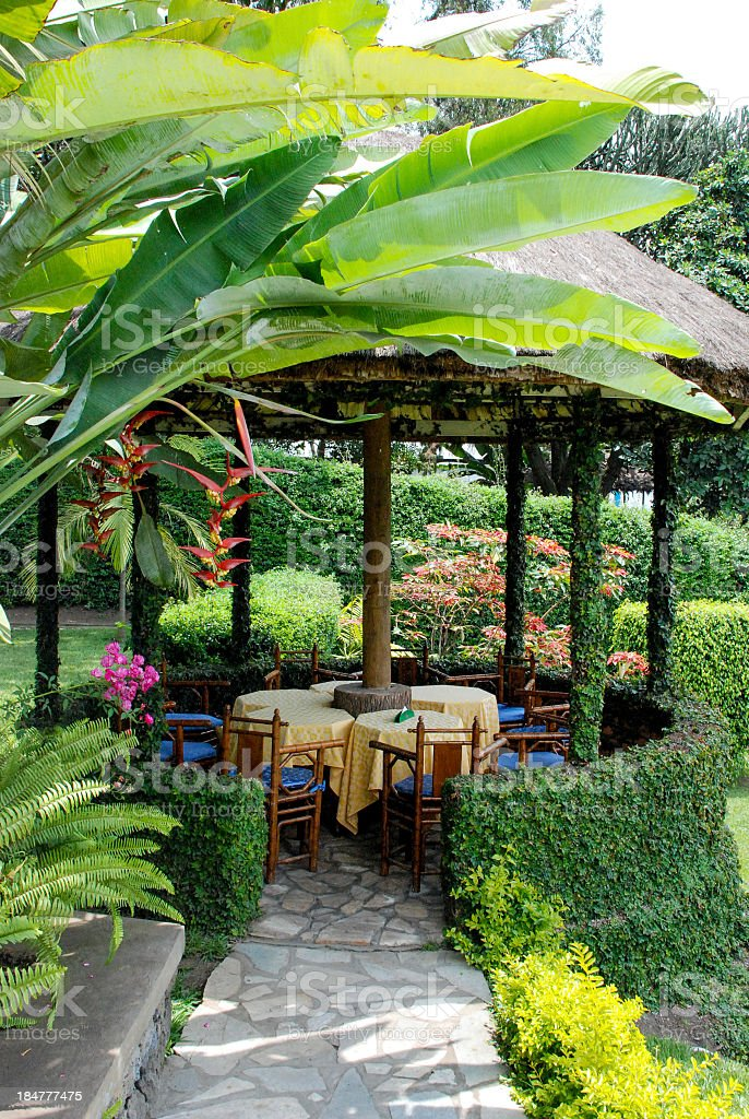 Gardens  Gazebo Stipp Hotel Lake Kivu Gisenyi Rwanda stock photo