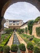 Gardens in the Alhambra Palace in Granada, Spain - Moorish architecture in Andalusia
