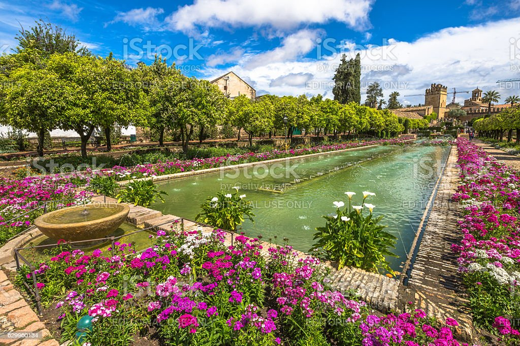 Gardens of Alcazar Cordoba stock photo
