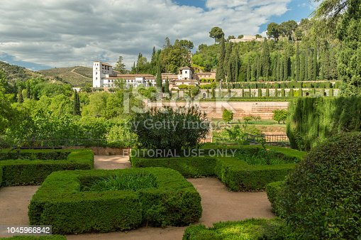 121178604 istock photo Gardens of Alhabre with Generalife (summer palace) in the distance 1045966842