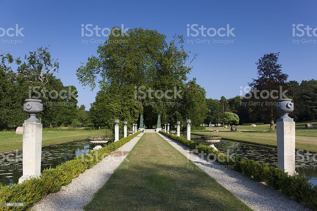Gardens of Chantilly castle royalty-free stock photo