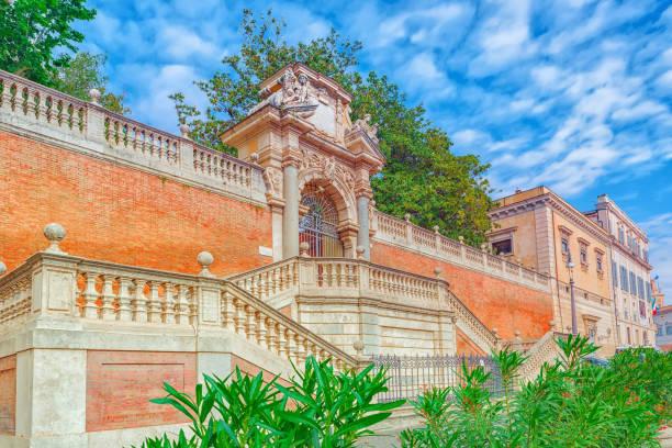 gardens of montecavallo (giardini di montecavallo) near quirinal palace (palazzo del quirinale) on quirinale square. rome. - rome road central view foto e immagini stock