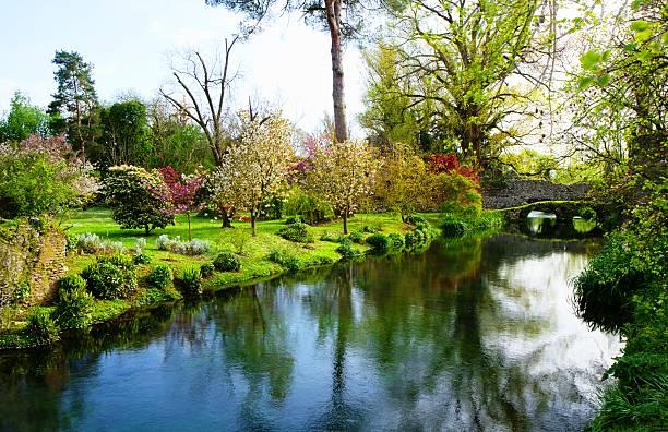gardens of ninfa stock photo