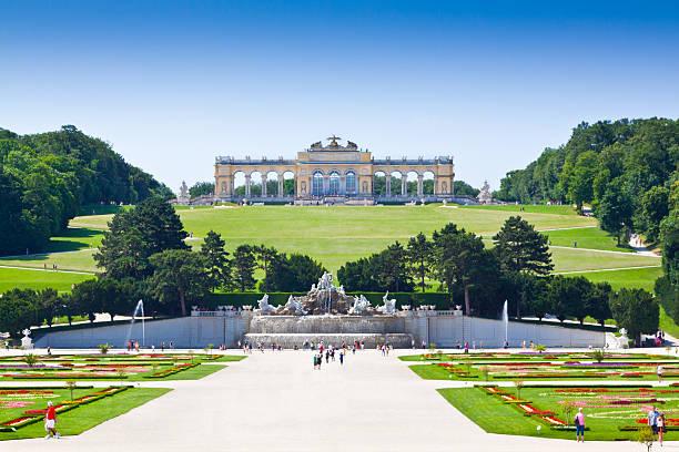 Gardens of Schonbrunn Palace, Vienna. stock photo