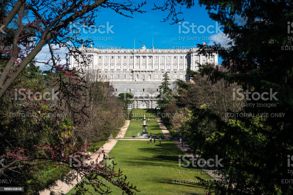 Gardens of the Royal Palace of Madrid stock photo