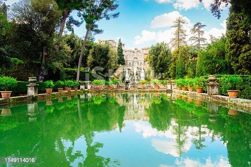 water cascade of Gardens dEste, Tivoli t summer, Italy, retro toned