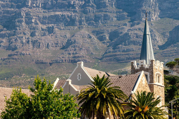 Gardens presbyterian church and Table Mountain in Cape Town stock photo