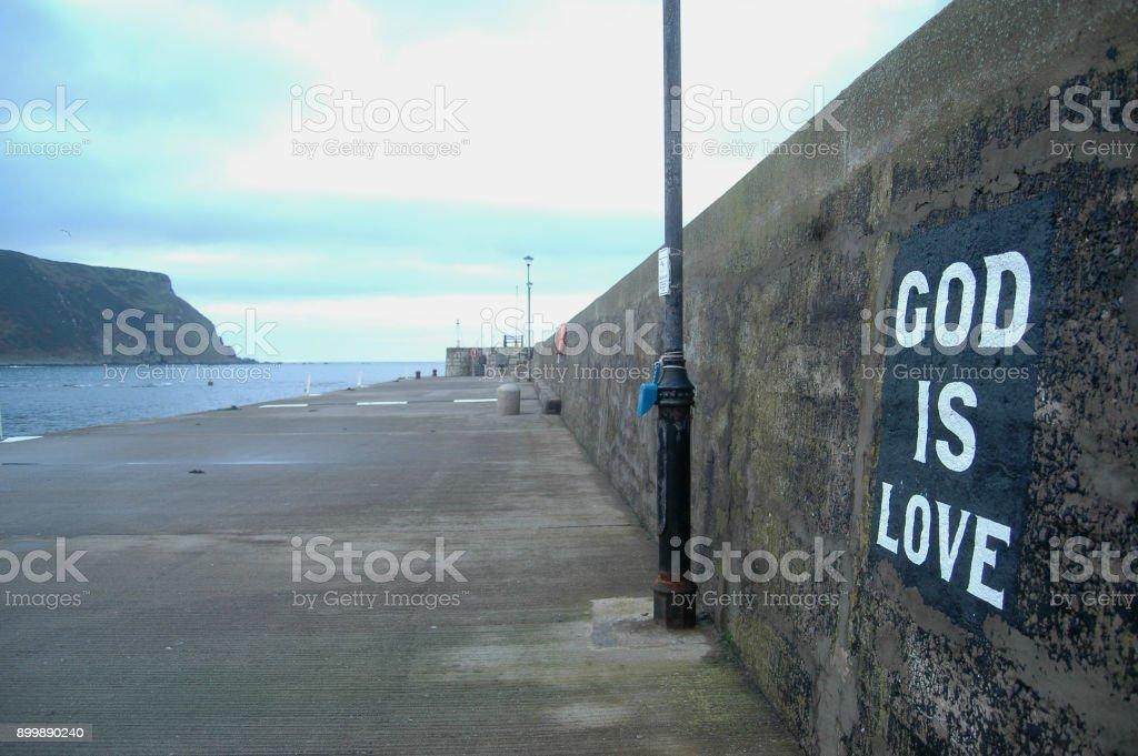 Gardenstown Harbour, Scotland stock photo