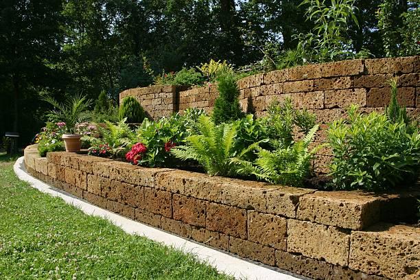 Steinmauer Garten - Bilder und Stockfotos - iStock